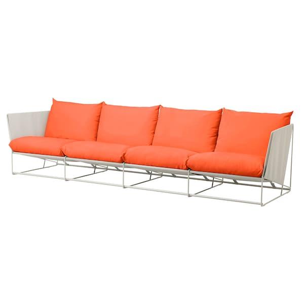 HAVSTEN 4-seat sofa, in/outdoor, orange/beige, 341x94x90 cm