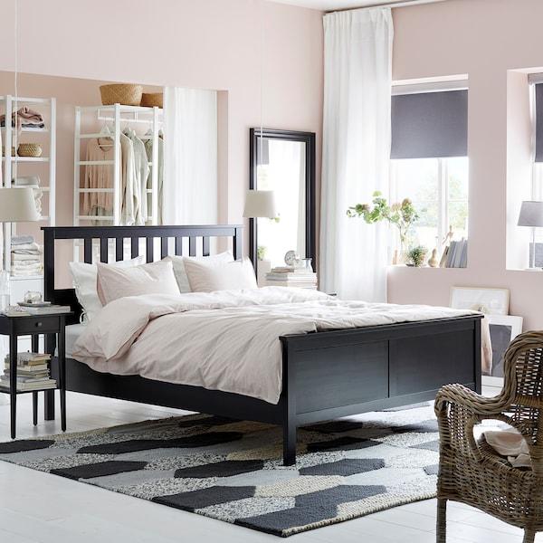 HEMNES Bed frame, black-brown/Lönset, 160x200 cm