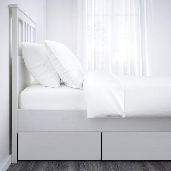 HEMNES Bed frame with 2 storage boxes, white stain/Lönset, 90x200 cm