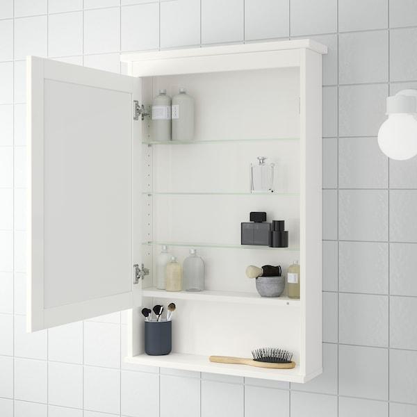 HEMNES خزانة بمرآة مع 1 باب, أبيض, 63x16x98 سم