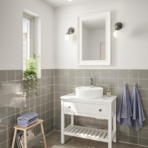 HEMNES / TÖRNVIKEN أثاث الحمّام، طقم من 4, أبيض/حنفية Voxnan, 82 سم