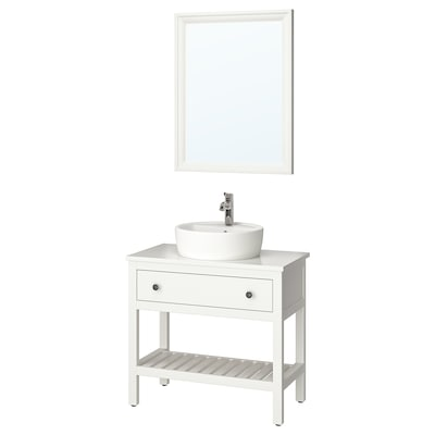 HEMNES / TÖRNVIKEN Bathroom furniture, set of 4, white/Voxnan tap, 82 cm