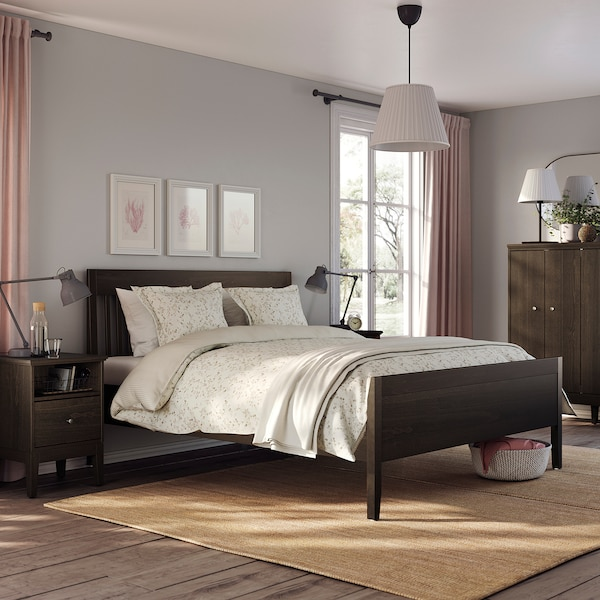 IDANÄS هيكل سرير, بني غامق/Lönset, 160x200 سم