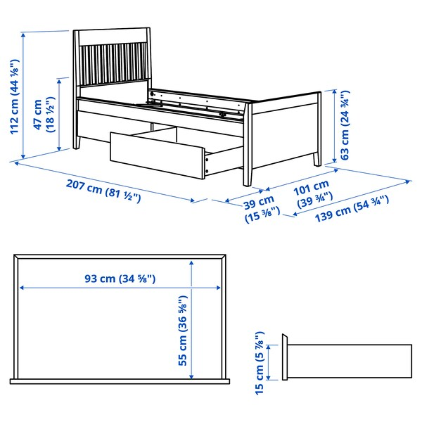 IDANÄS Bed frame with storage, white, 90x200 cm