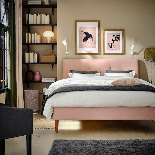 IDANÄS Upholstered bed frame, Gunnared pale pink, 140x200 cm