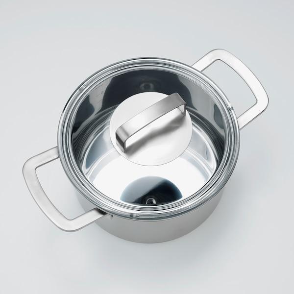 IKEA 365+ قدر مع غطاء, ستينلس ستيل/زجاج, 3 ل