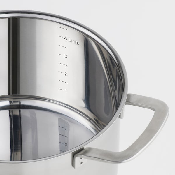 IKEA 365+ قدر مع غطاء, ستينلس ستيل/زجاج, 5 ل