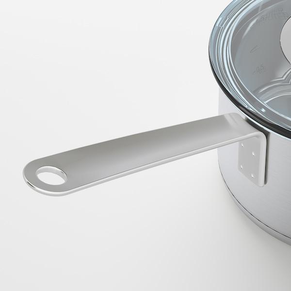IKEA 365+ قدر بمقبض مع غطاء, ستينلس ستيل/زجاج, 2 ل