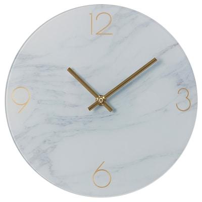 INBJUDARE Wall clock, marble effect/glass, 25 cm