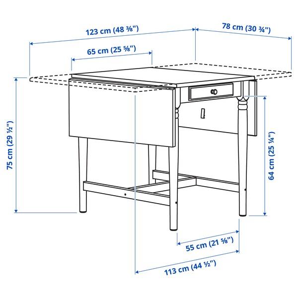 INGATORP طاولة مع جناح ينطوي, أبيض, 65/123x78 سم