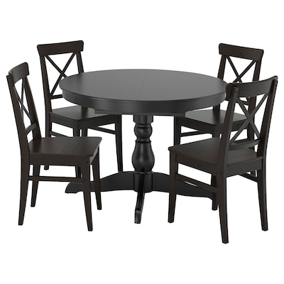 INGATORP / INGOLF Table and 4 chairs, black/brown-black, 110/155 cm