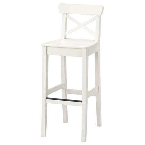 INGOLF bar stool with backrest white 110 kg 40 cm 46 cm 102 cm 40 cm 35 cm 74 cm