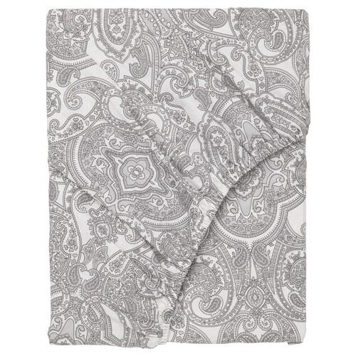 JÄTTEVALLMO fitted sheet white/grey 200 cm 180 cm
