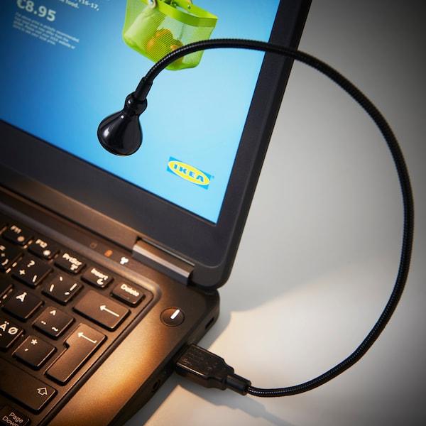 JANSJÖ مصباح LED USB, أسود