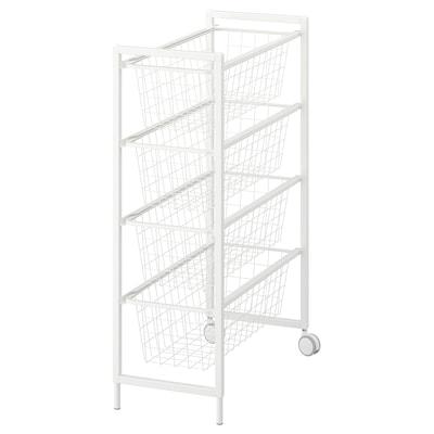 JONAXEL Frame with wire baskets/castors, white, 25x51x73 cm