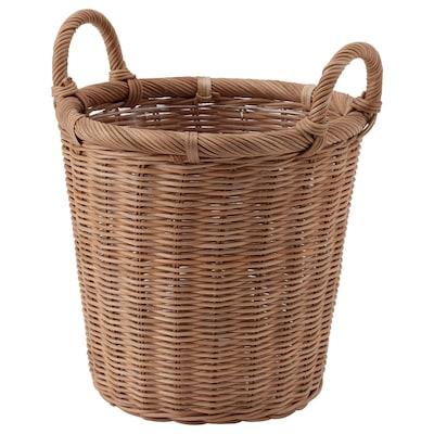 KAKTUSFIKON Plant pot, rattan, 24 cm