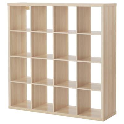 KALLAX Shelving unit, white stained oak effect, 147x147 cm
