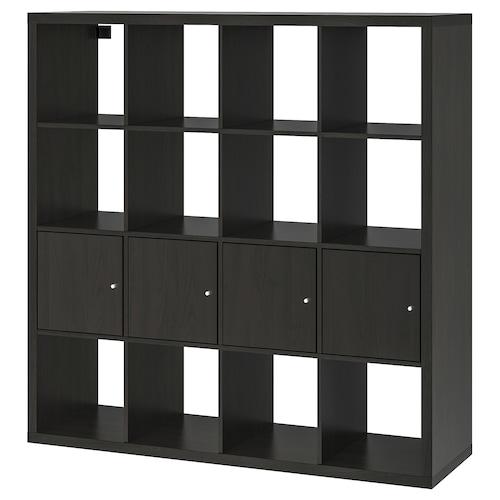 KALLAX shelving unit with 4 inserts black-brown 147 cm 39 cm 147 cm 13 kg