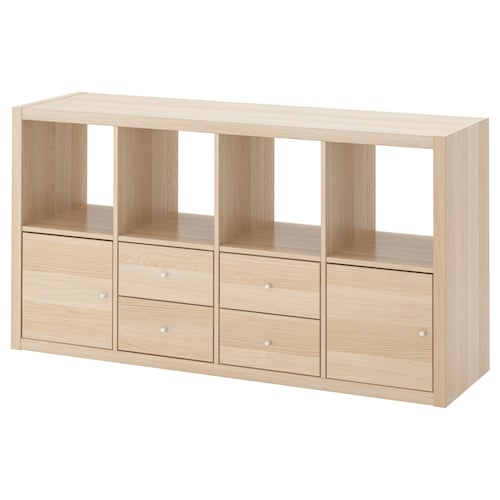 KALLAX shelving unit with 4 inserts white stained oak effect 147 cm 39 cm 77 cm 13 kg