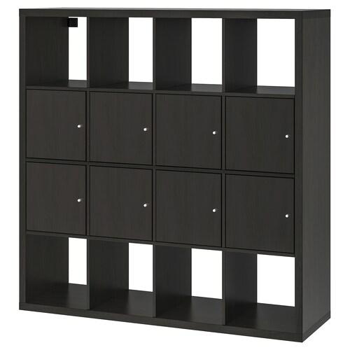 KALLAX shelving unit with 8 inserts black-brown 147 cm 39 cm 147 cm 13 kg