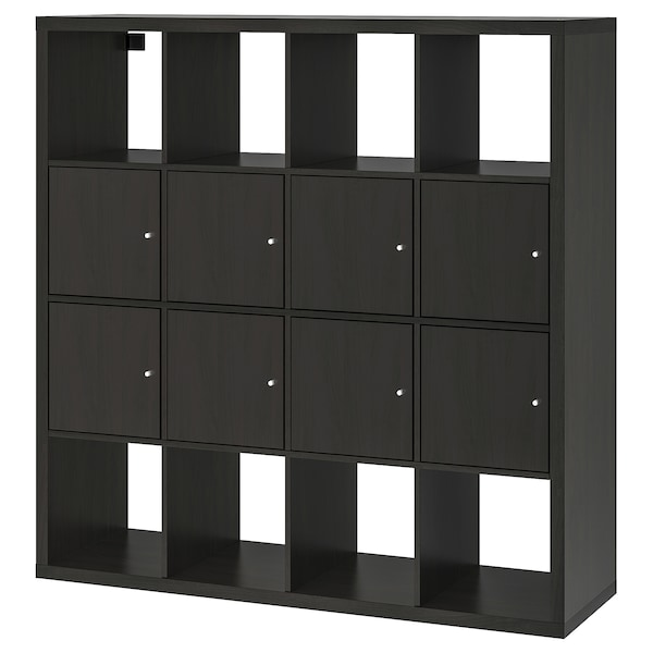 KALLAX shelving unit with 8 inserts black-brown 147 cm 39 cm 147 cm 13 kg