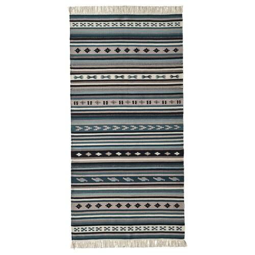 KATTRUP rug, flatwoven handmade/blue 150 cm 75 cm 4 mm 1.13 m² 1150 g/m²