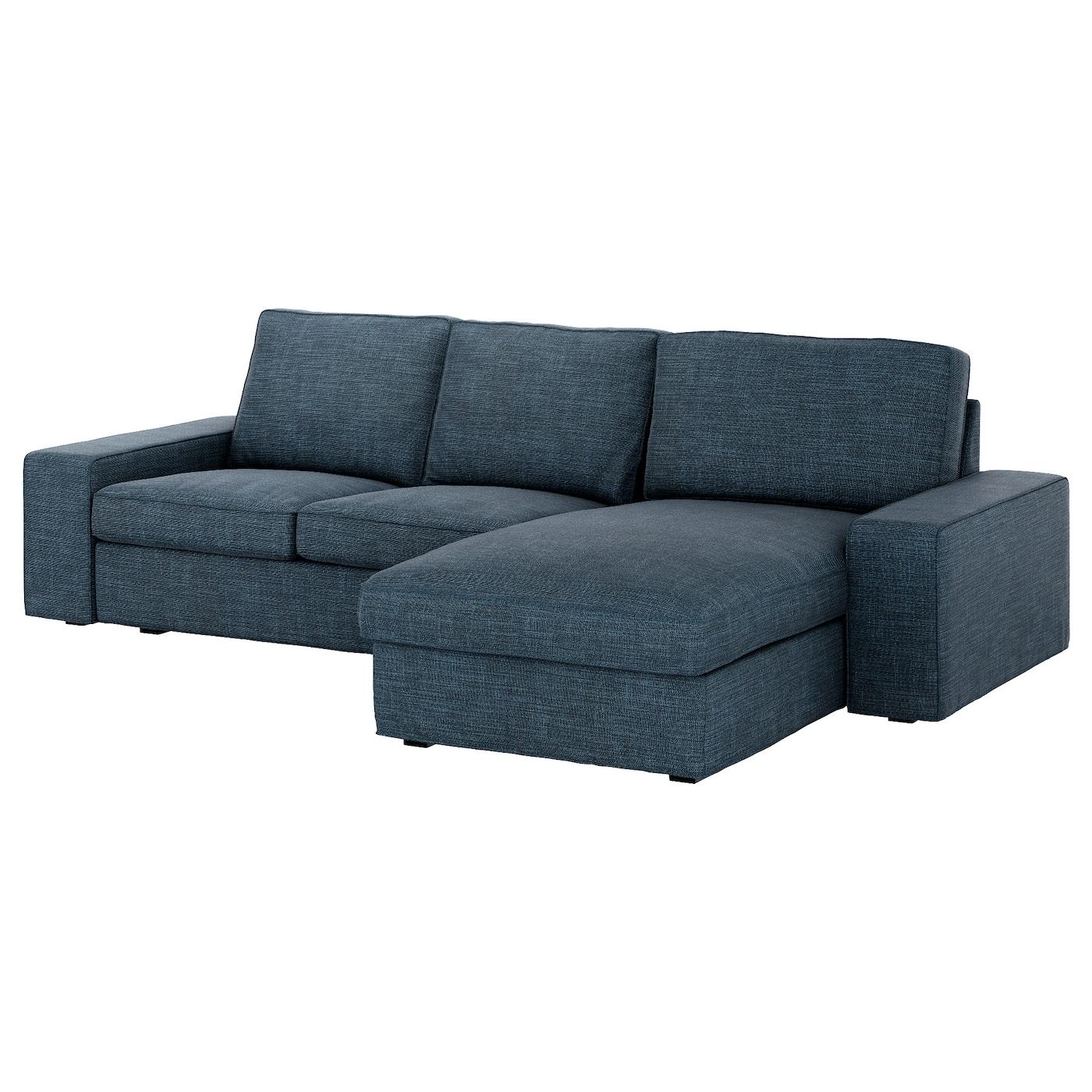 Kivik 3 Seat Sofa With Chaise Longue Hillared Dark Blue Ikea