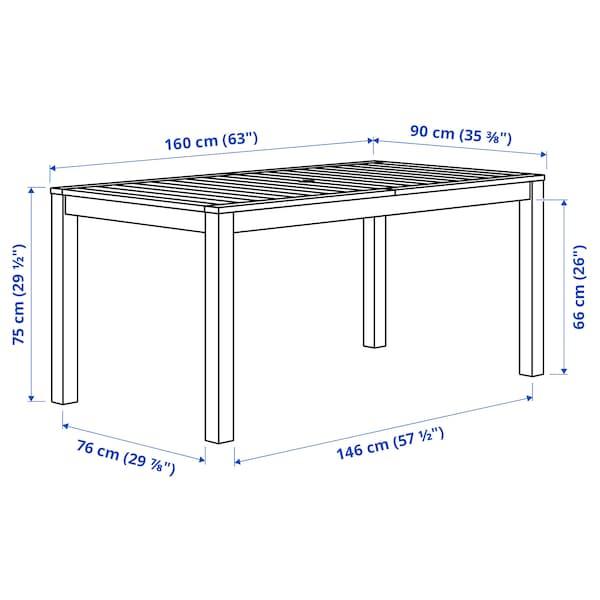 KLÖVEN طاولة، خارجية, أسود-بني, 160x90 سم