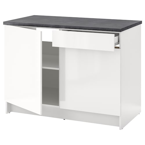 KNOXHULT base cabinet with doors and drawer high-gloss white 122.0 cm 120 cm 61.0 cm 91.0 cm