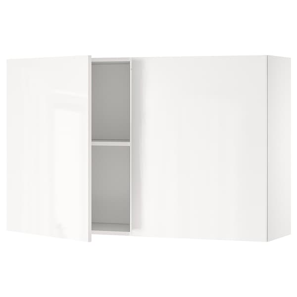 KNOXHULT Wall cabinet with doors, high-gloss white, 120x75 cm