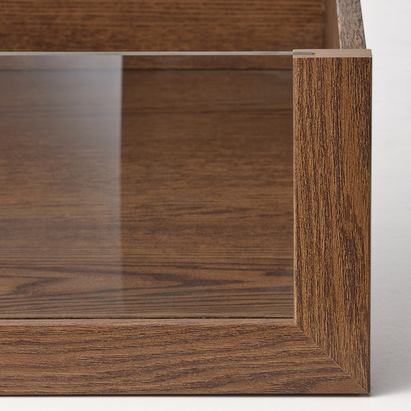 KOMPLEMENT Drawer with glass front, brown stained ash effect, 100x58 cm