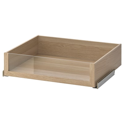 KOMPLEMENT Drawer with glass front, white stained oak effect, 75x58 cm