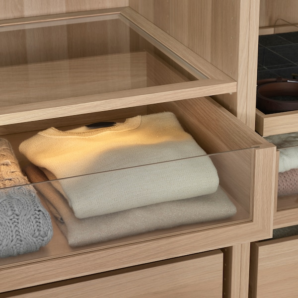 KOMPLEMENT Drawer with glass front, white stained oak effect, 100x58 cm