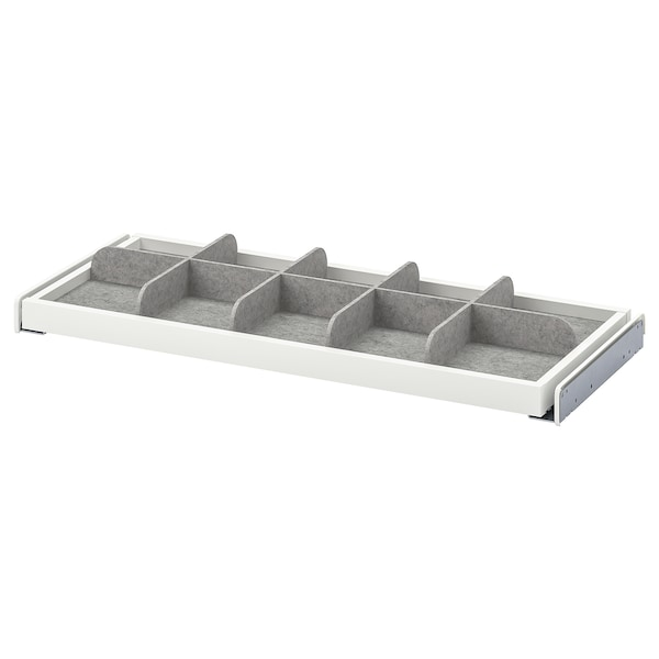 KOMPLEMENT Pull-out tray with divider, white/light grey, 75x35 cm