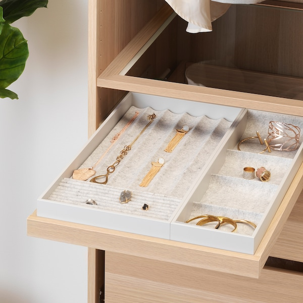 KOMPLEMENT Pull-out tray with insert, white stained oak effect, 50x58 cm