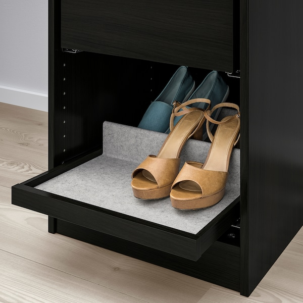 KOMPLEMENT Pull-out tray with shoe insert, black-brown/light grey, 50x58 cm