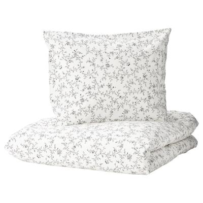 KOPPARRANKA Duvet cover and 2 pillowcases, white/dark grey, 220x240/50x60 cm