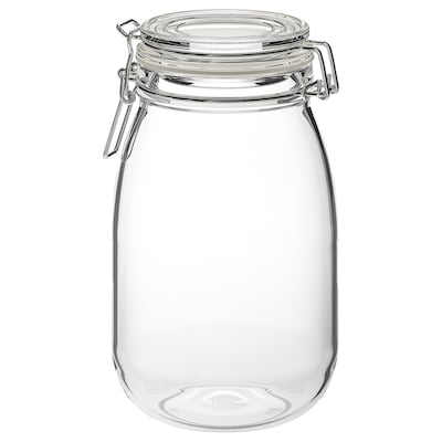 KORKEN مرطبان مع غطاء, زجاج شفاف, 1.8 ل