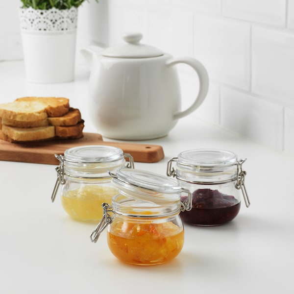 KORKEN jar with lid clear glass 7 cm 7 cm 13 cl 3 pieces