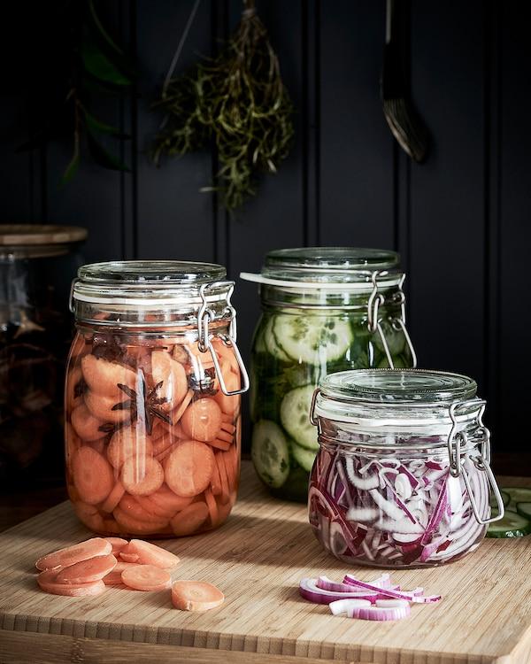 KORKEN Jar with lid, clear glass, 1 l