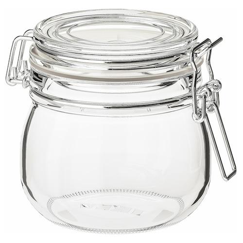 KORKEN jar with lid clear glass 10.5 cm 11 cm 0.5 l