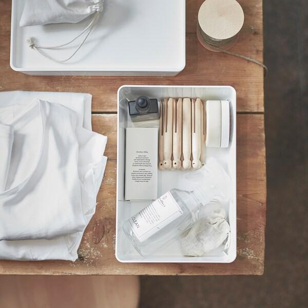 KUGGIS صندوق بغطاء, أبيض, 18x26x8 سم