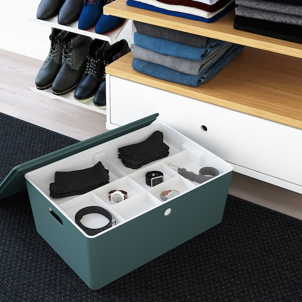 KUGGIS صندوق تخزين مع غطاء, تركواز, 37x54x21 سم