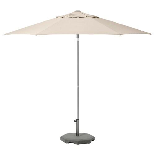 KUGGÖ / LINDÖJA parasol with base beige/Huvön dark grey 200 g/m² 257 cm 300 cm 38 mm