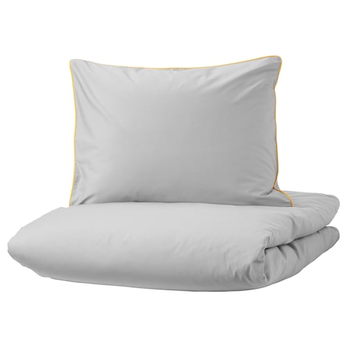 KUNGSBLOMMA quilt cover and 2 pillowcases grey/yellow 200 /inch² 2 pieces 220 cm 240 cm 50 cm 60 cm