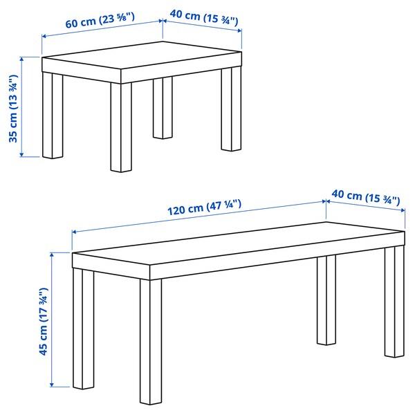 LACK طاولات متداخلة، طقم من 2., أسود/أبيض