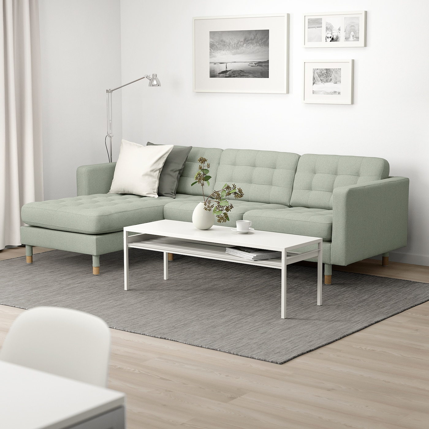 Landskrona 3 Seat Sofa With Chaise Longue Gunnared Light Green Wood Ikea