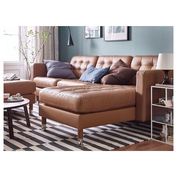 LANDSKRONA Chaise longue, add-on unit, Grann/Bomstad golden-brown/metal