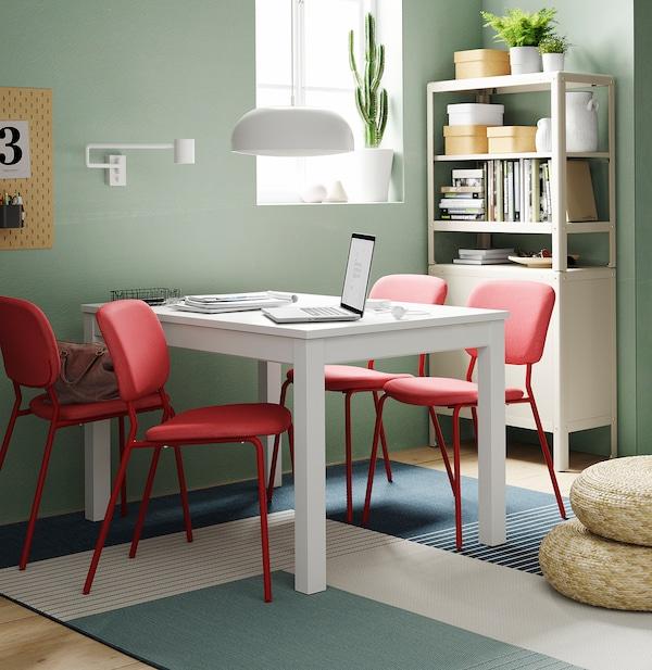 LANEBERG طاولة قابلة للتمديد, أبيض, 130/190x80 سم