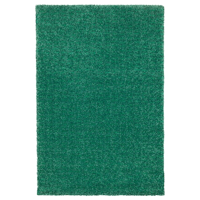 LANGSTED Rug, low pile, green, 60x90 cm